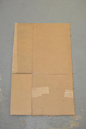 A cardboard box, opened up.