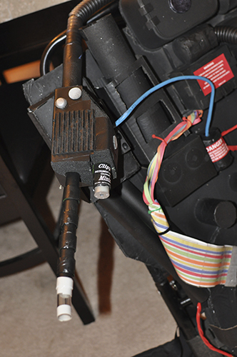 Proton pack ray gun close up.