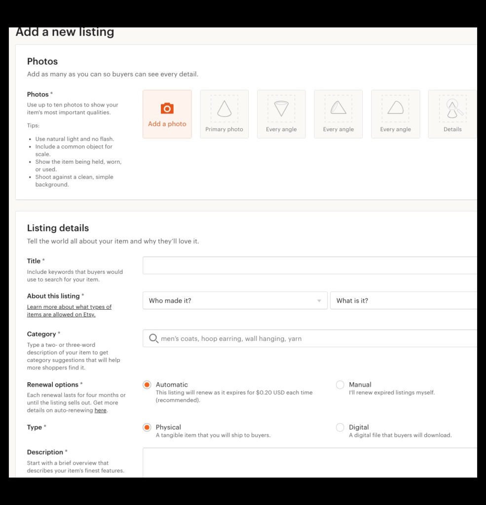 Screen shot of Etsy listing submission form with fields to complete