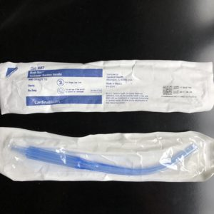 A long plastic tube that goes in the mouth for suctioning.