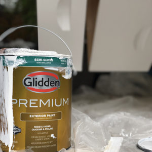 Photo of a can of Glidden exterior paint that was used to paint beehive boxes.