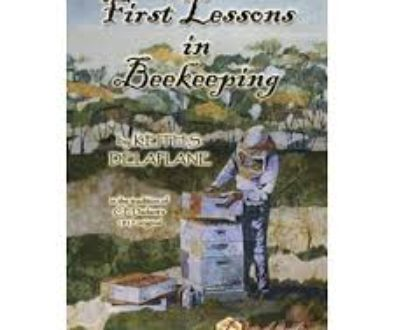 """Book cover of """"First Lessons in Beekeeping"""". Cover is a painting of a beekeeper in a bee suit, working with hives."""