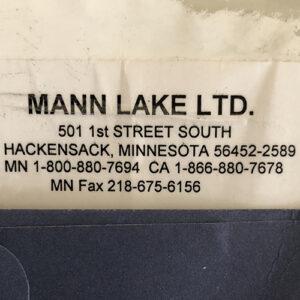 Photo of Mann Lake address label from box