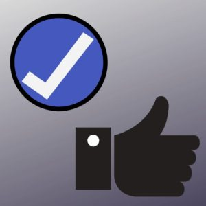 checkmark icon and a thumbs up to represent accepting and owning the guilty feelings