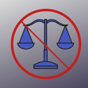 icon of scales to represent comparison. red circle with line on top to represent no or don't
