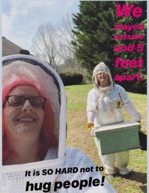 two beekeepers with text about staying apart due to covid-19